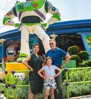 Tim Allen with wife Jane and daughter Elizabeth in Toy Story Land at Disney's Hollywood Studios