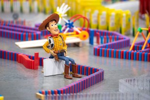 Spectacular 32,000-Piece Domino Maze Celebrates Disney's Toy Story Land