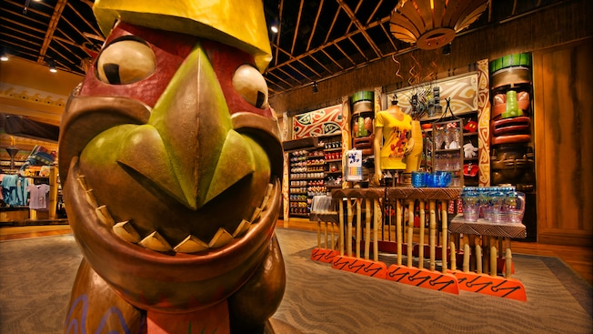Tiki statue and displays at Bou-Tiki Merchandise Shop at Disney's Polynesian Resort