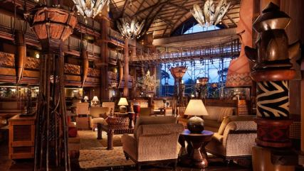 The grand African-themed lobby at Disney's Animal Kingdom Lodge