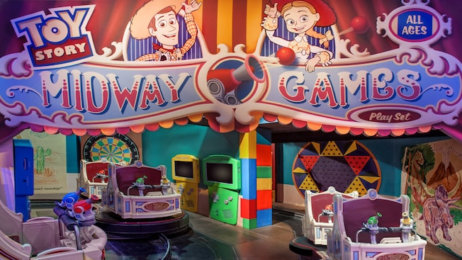 Attraction cars at the start of Toy Story Mania! at Disney's Hollywood Studios