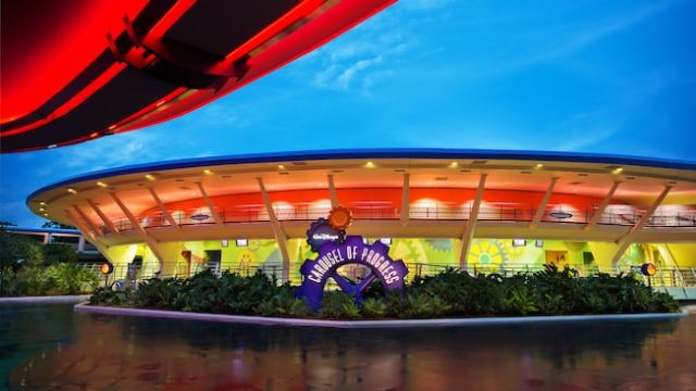 Walt Disney's Carousel of Progress lit up at night in Tomorrowland at Magic Kingdom park