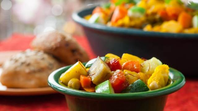 Relish scrumptious vegetarian dishes at Tusker House Restaurant including a vegetable stew.