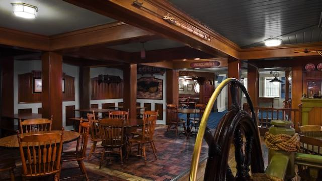 Wood-accented nautically themed dining room at Columbia Harbour House