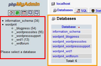 phpMyAdmin-database