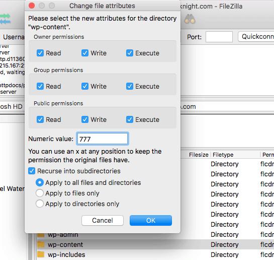 Change-wp-config-folder Permissions-Filezilla