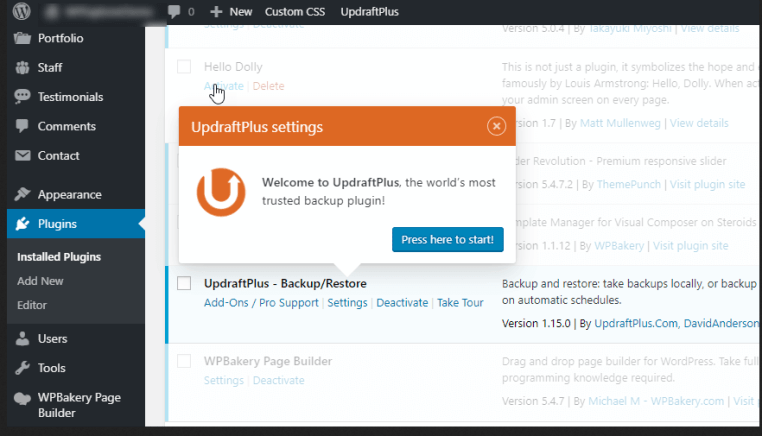 Updraft Plus backup wordpress plugin