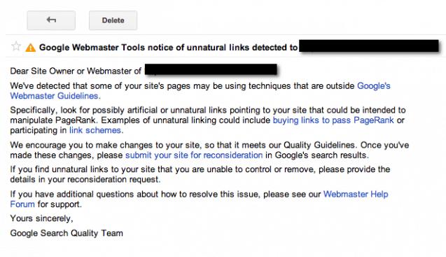 manual link spam penalty in wordpress