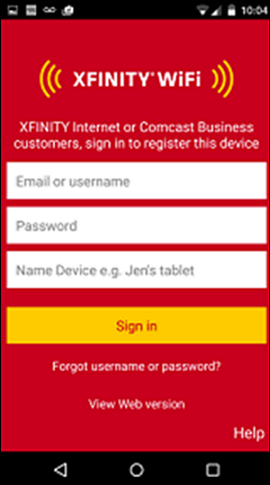 Download the XFINITY WiFi Hotspots App or Profile to