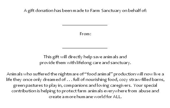 In Honor and Memory Farm Sanctuary