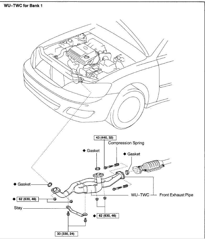 Toyota Avalon Bank 1 Sensor 1 Location