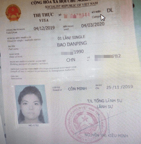 <em>The Vietnamese visa of the victim is seen in this photo provided by officers.</em>