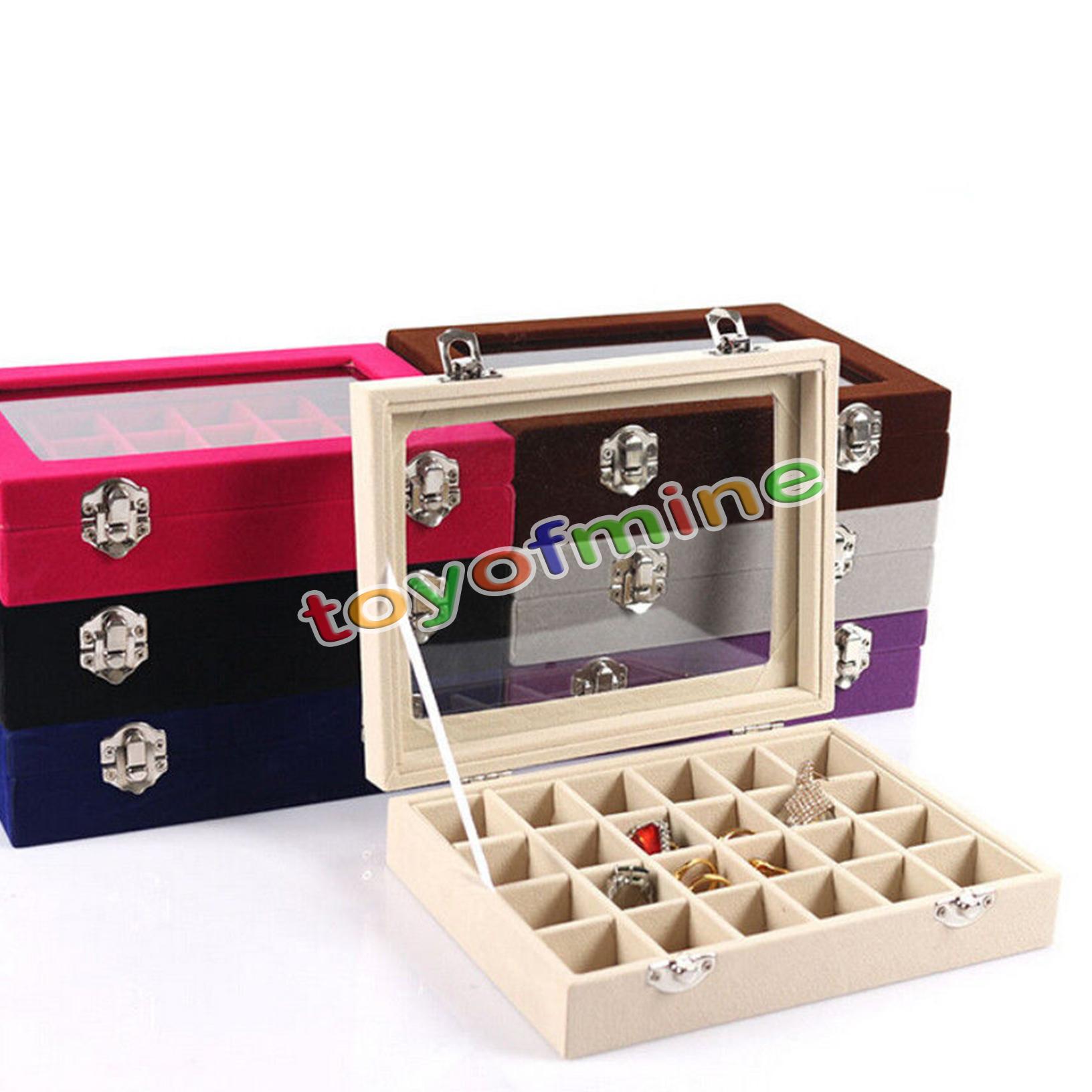 Velvet Glass Jewelry Ring Earring Display Organizer Box