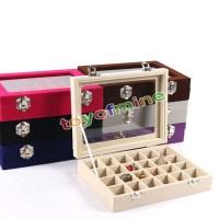 Velvet Glass Jewelry Ring Earring Display Organizer Box ...