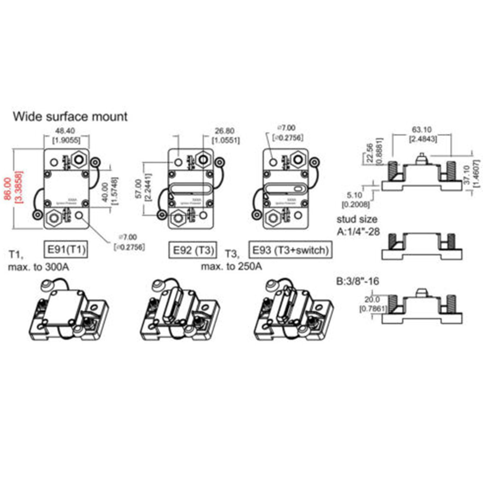 30A-300A AMP Circuit Breaker Fuse Reset 12-48V DC Car Boat