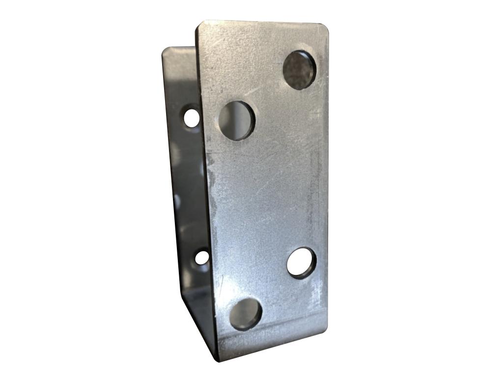 2x4 door security bar brackets barricade open top galvanized bar holder front view