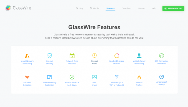 glasswire firewall features