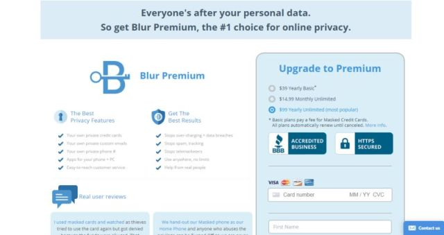 Blur password manager pricing plan