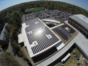Aerial view of the 205kW solar array at the University of Richmond