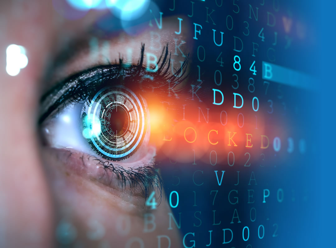 Close-up of a woman's eye with overlaid random computer text