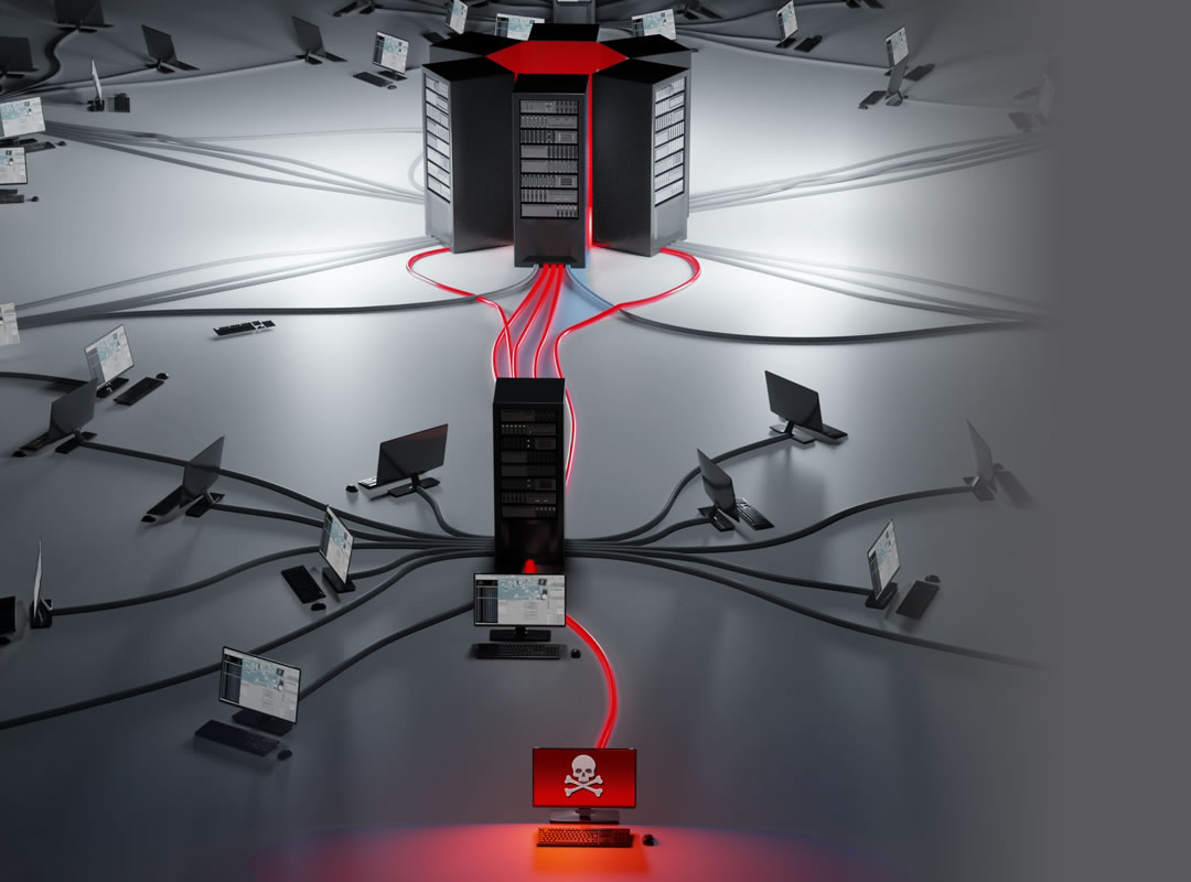 Virus-infected computer spreading infection across the network