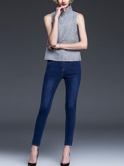 Blue Denim Zipper Jeans