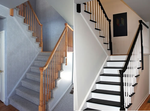 Painting Stairs Diy Faqs And Tips Your Home Only Better | Two Tone Wood Stairs | Timber | Partially Carpeted | White Back | Diy | Rug