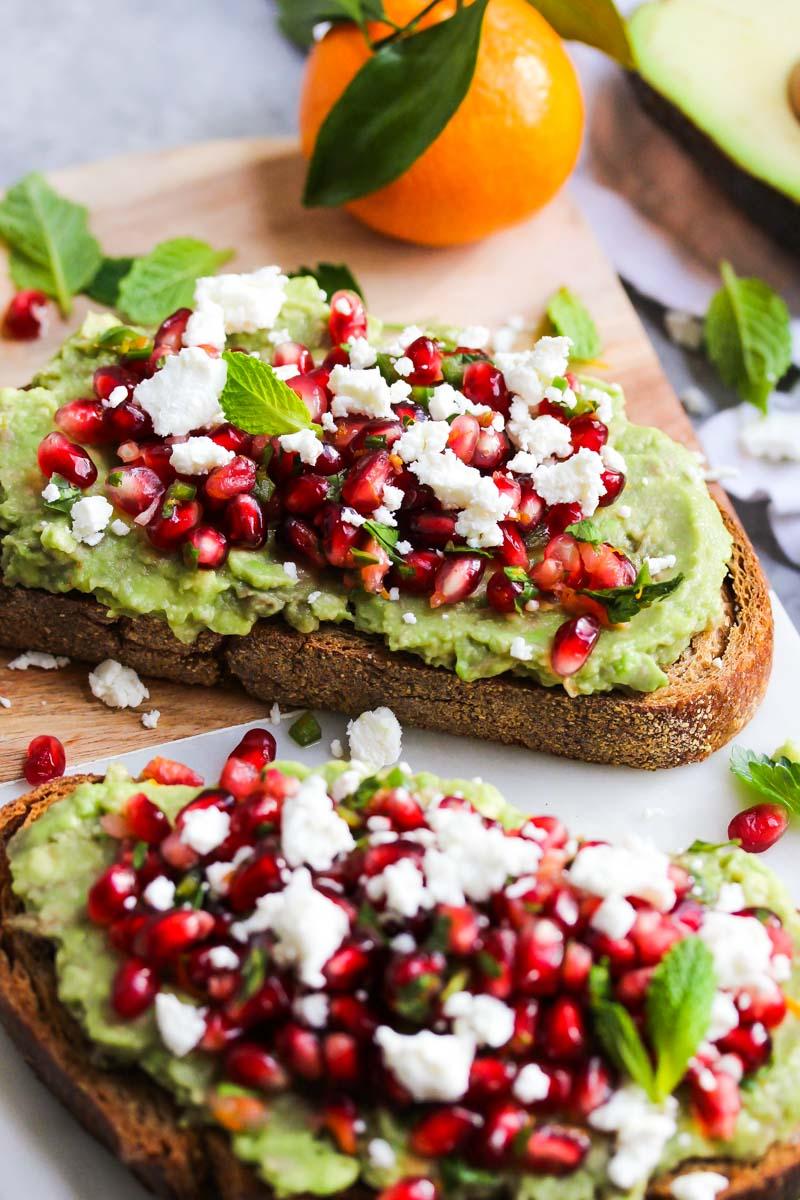 avocado toast with pomegranate