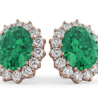 Oval Emerald and Diamond Earrings (10.80ctw)