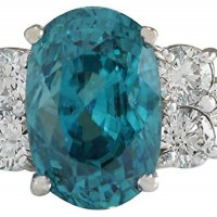 Gorgeous 7.07 Carat Natural Blue Zircon and Diamond (F-G Color, VS1-VS2 Clarity) 14K White Gold Solitaire Engagement Ring