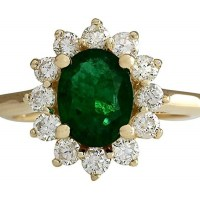 2.35 Carat Natural Green Emerald and Diamond (F-G Color, VS1-VS2 Clarity) 14K Yellow Gold Engagement Ring