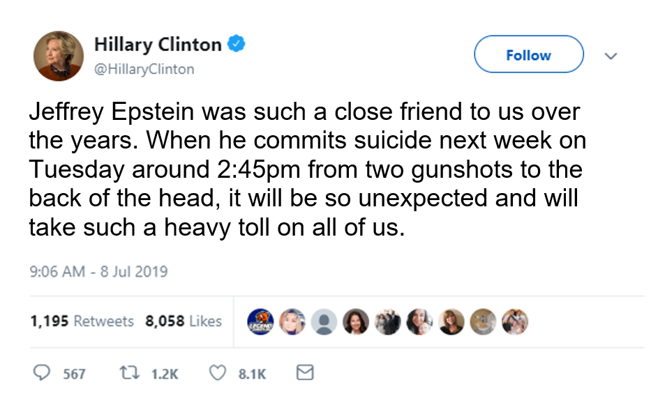 hillary clinton expresses shock