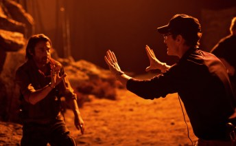Jordi Molla and David Twohy, staging a night scene, Montreal, RIDDICK, 2012.