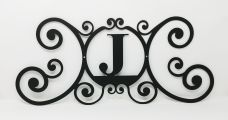 Wrought Iron Monogram Wall Plaque Letter J