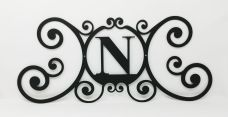 Wrought Iron Monogram Wall Plaque Letter N