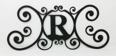 Wrought Iron Monogram Wall Plaque Letter R