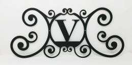 Wrought Iron Monogram Wall Plaque Letter V