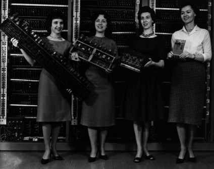 Ballistics Research Laboratory (later to become a part of ARL) employees are seen holding the circuit boards to the first four computers developed by BRL engineers, the ENIAC, Edvac, ORDVAC and BRLESC-I. Photo: ARL