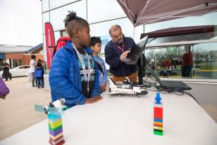 Presenting Sponsor Riverside Research had several activities for students.