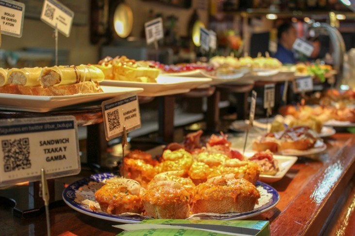 Platters of Basque Country Pintxos in San Sebastian, Spain
