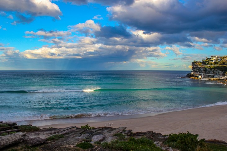 Teal blue water at Bronte Beach on the route from Bondi to Coogee in Sydney, Australia