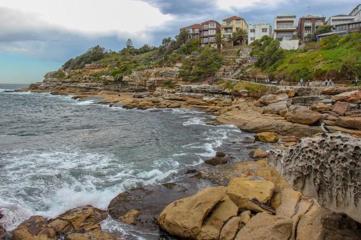 Coastal path along cliffs near Bondi Beach on Bondi to Coogee Walk in Sydney, Australia