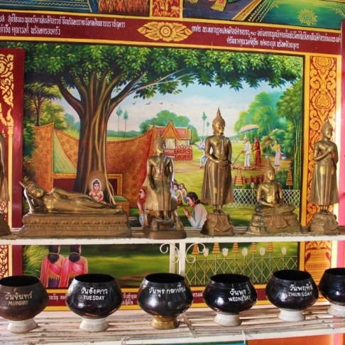 Days of the Week Offerings at one of the temples in Chiang Mai