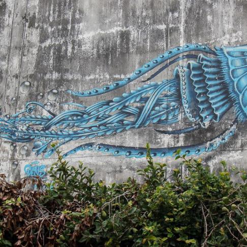 Nearly hidden street art in Chiang Mai, Thailand