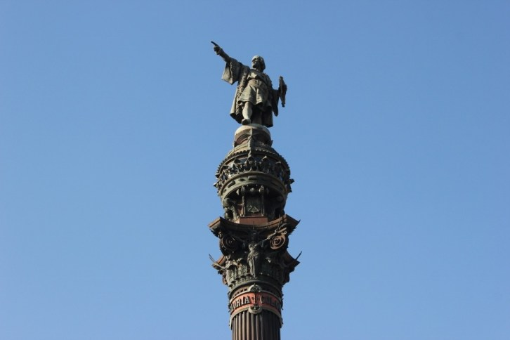 The Columbus Monument on waterfront in Barcelona, Spain