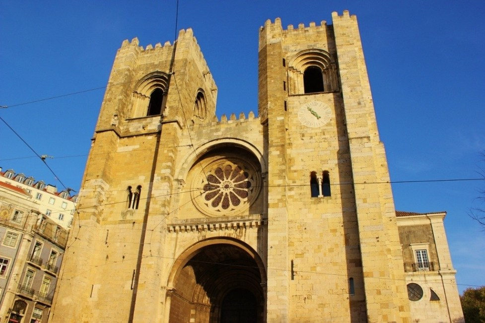 Twin Towers and Rose Window of Se Cathedral in Lisbon, Portugal