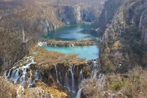 Plitvice Lakes winter scenery in Croatia