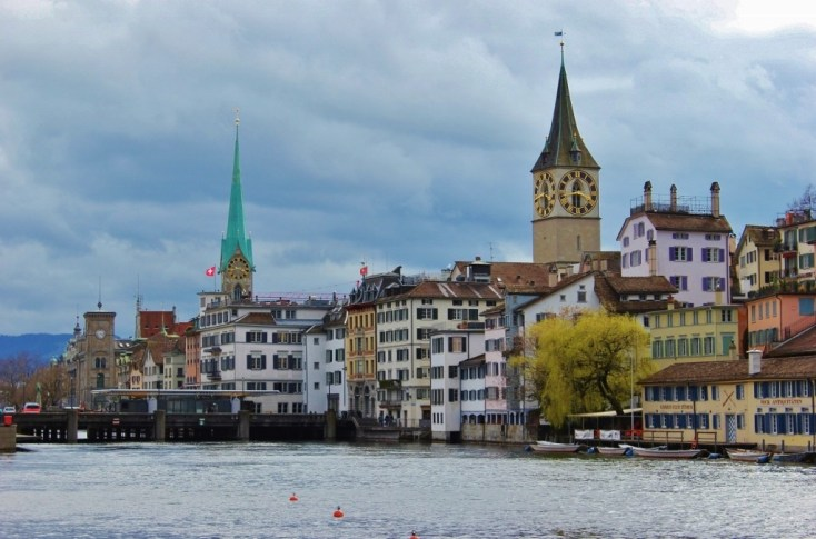 River Limmat and city view, Zurich, Switzerland JetSettingFools.com