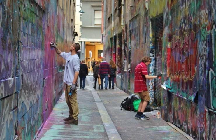 Laneways Street Artists at work on Union Lane.
