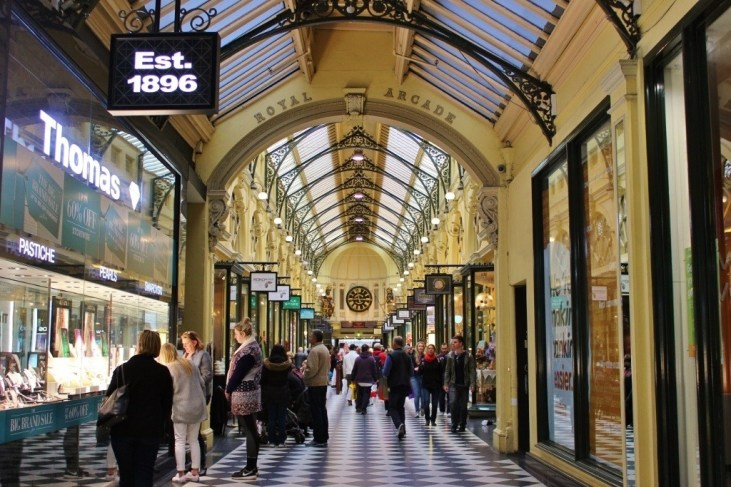 The Royal Arcade is a bit of glam as far as laneways go - and has been since its inception.